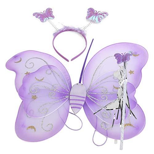 Mädchen Flügeln Plüsch Kostüm Schmetterlings - SUPVOX Kinder Schmetterling Kostüm Flügel Stirnband Zauberstab Kostüm Set für Mädchen Kinder Halloween Fasching Karneval Cosplay (Lila)