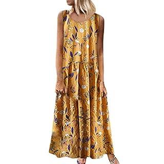Gofodn Dresses for Women Plus Size Casual Sleeveless Bohemia Vintage Floral Print Beach Long Dress Yellow