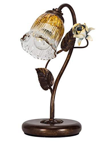 Helios Leuchten 403757/1 Florentiner Tischleuchte Tischlampe | Blüten chabby chic | Florale Lampe Leuchte Kronleuchter Landhausstil | 1 x E14 -