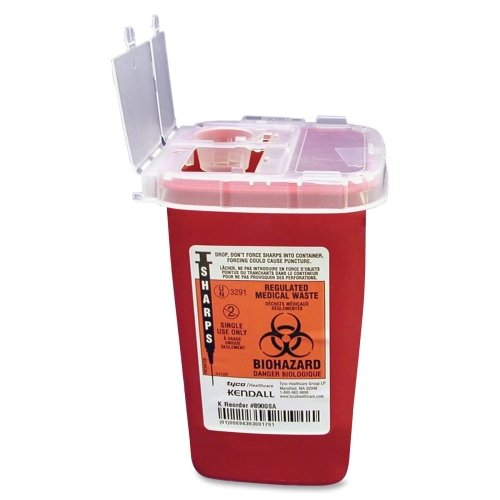 Phlebotomy Sharps Container W/Clear Lid, Flip Top,1 Qt.,RD, Sold as 1 Each