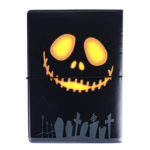 YSINFOD Halloween Kürbis Reisepass Cartoon Reise ID Kartenhalter Brieftasche Leder Kartenetui Abdeckung für Mädchen Damen Jungen Männer Reise Verwenden