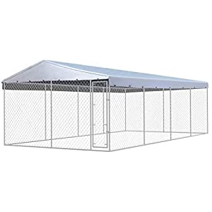 vidaXL Chenil Extérieur Toit Chien Acier Galvanisé 8x4 m Cage Enclos