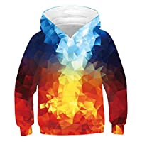 TUONROAD Boys Pullover Cool Geometric 3D Printed Blue Hoodie Girls Lightweight Hooded Jumper Comfortable Sports Hooded Gym Tops Long Sleeve Casual Sweatshirt with Pockets - M
