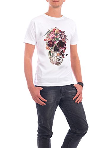 """Design T-Shirt Männer Continental Cotton """"New Skull Light"""" - stylisches Shirt Floral Natur von Ali GÜLEÇ Weiß"""