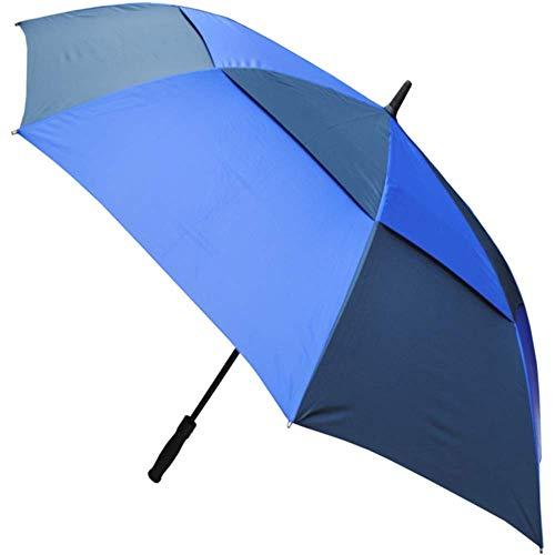 COLLAR AND CUFFS LONDON - XL 152 cm Bogen WINDPROOF - SEHR STARK - Verstärkt mit Fiberglas - StormDefender Golfschirm - Ventilationsbezug - Automatik Regenschirm Stockschirm Königsblau und Marine Blau
