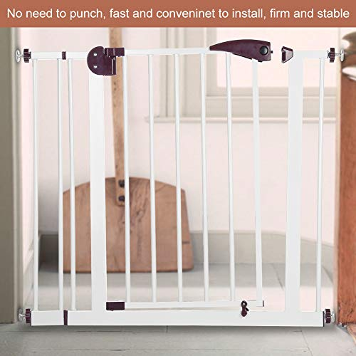 Baby Gate, Safety Gate Stair Gate 1Pc Baby Children Safety Gate Door Auto Close Swing Shut Stair Fence Pet Protection Height 77cm Length 80-91cm Brown  Cocoarm