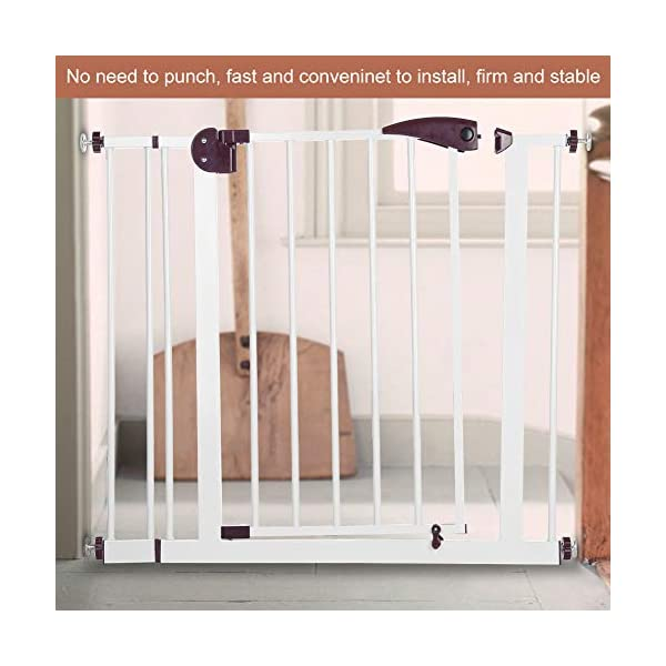 Baby Children Safety Gate Door Auto Close Swing Shut Stair Fence Pet Protection High and Wide Pressure Fit Safety Gate Ideal None Screw Stable and Durable Protective Safety Gate for Babies or Pets Ejoyous ღ Auto Close Double Lock 100% Safe ღ This Safety Gate Door adopt double lock and auto close design. There are 2 locks separately located on the top and bottom of the gate, which makes sure that your kids won't accidentally open it and get out. Besides the auto close design also buy you an insurance for careless forgetting to close it. Also it can locate 90 ° normally open, very convenient for long time in and out. These triple protection let your baby totally free from danger ღ Pressure Fit Set Easy Assemble ღ There is no need of any drilling work. The 4 pressure point will let the Safety Gate be firmly and stably fixed on the wall. Extremely easy to get the assemble job done or disassemble to move it to any place else ღ 85-94cm Wide High Versatility ღ The original wide(81 cm) plus extension accessories (10 cm) makes a total 91 cm wide along with the extension pressure point can let the gate be set at 85-94cm doorways, hallway or stairway (the most common wide of house design). You are free to choose using extension accessories or not 12