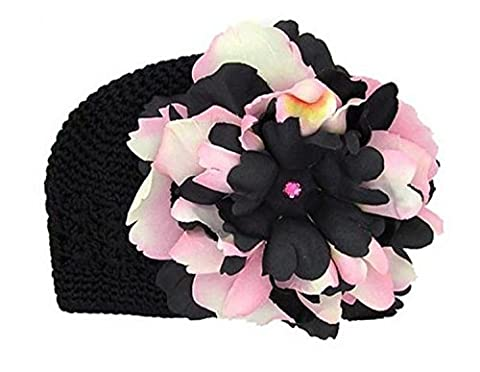 Black Crochet Hat with Pink Black Large Peony, Size: 12-18m