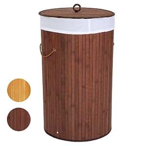 Jago Wäschekorb in Bambusoptik Wäschesammler Rund Farb-und Größenwahl (70L)