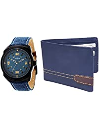 XPRA Analog Watch & Blue Leather Wallet For Men/Boys Combo (Pack of 2) - (WCH-WL-5)