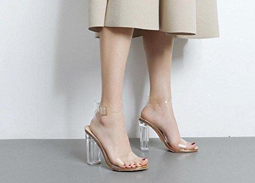GLTER Femmes Chaussures à talons hauts Talons à Talons Ouverts Chaussures Cristal Transparent Gris Chaussures Sandales Outdoor apricot