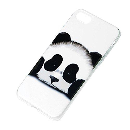 SMART LEGEND iPhone 7 Weiche Silikon Hülle Bumper Schutzhülle Transparent Rahmen Hülle mit Cool Löwe Muster Handyhülle Crystal Kirstall Clear Etui Ultra Slim Design Glatt Durchsichtig Weich TPU Handy  Panda