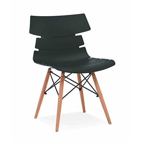 ACTUAL DIFFUSION 4 Chaises de Séjour Coque Design Pieds Bois - Coloris - Noir Hêtre, 49x48x79 cm