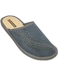 BeComfy Zapatillas de casa para Hombres 100% Cuero genuino punta abierta