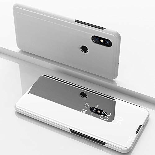 Custodia® Espejo Chapado Transparente View Stand Función Flip Funda para Xiaomi Mi Mix 3 (Plata)