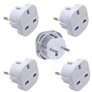 INIBUD Universal UK to EU Europe European Travel Adapter White Plug 2 Pin, Pack of 5