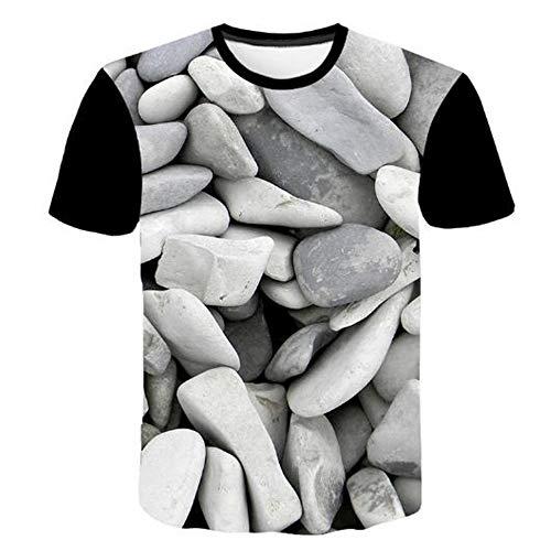 Bedruckte Herren T-Shirts für den Sommer Vintage und Urlaub Lässige Neuheit Cool Travel T-Shirt mit kurzen Ärmeln,Lässiger Druck 3D Pebble Grey 4XL