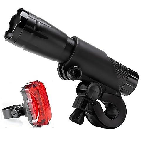 LED Fahrradbeleuchtung, MOMONY Superhelle Wasserdicht Fahrradlicht Frontlichter und Rücklicht, 3 Licht-Modi 300 Lumen Farradlicht Taschenlampe für Radfahren, Camping und täglichen Gebrauch