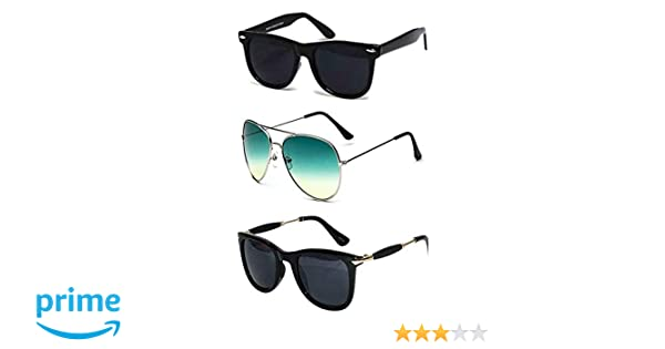 8b40fe3ca28 Sheomy Combo Set of 3 UV Protect Wayfarer Black Lens Goggle and Sunglasses  for Men and Women with 3 Hard Boxes  Amazon.in  Clothing   Accessories