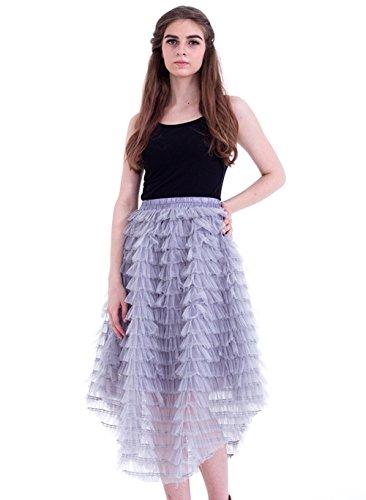Honeystore Damen's Röcke Tüll A-Linie Vintage Retro Party Hochzeit Faltenwurf Rock Unterrock Petticaot Rockabilly One Size Grau (Einfache Diy Anna Kostüm)