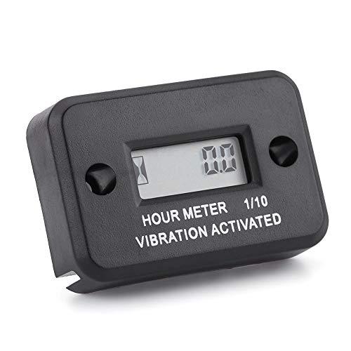 Digital Vibration Stundenzähler Gauge Wireless LCD Digitalanzeige Wasserdicht für Vibrierende Maschine Motorrad ATV Boot Marine (schwarz) -