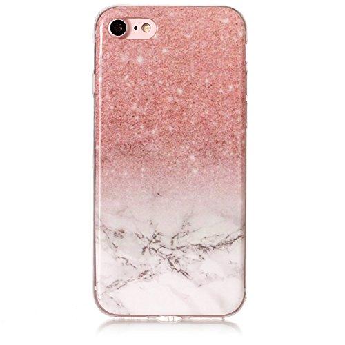 iPhone 8 Hülle,iPhone 7 Hülle,iPhone 7/iPhone 8 Schutzhülle Marmor,SainCat Silikon Hülle [Kratzfeste, Scratch-Resistant] Tricolor Marmor Muster Handyhülle Ultra dünne Silikon Hülle Schutzhülle Durchsi Puder weißer Stein