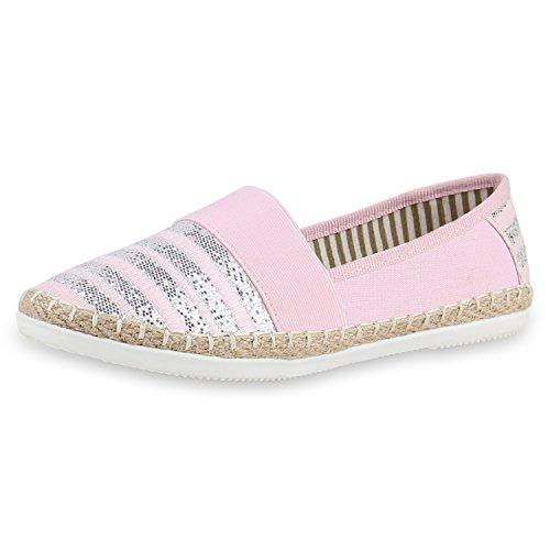 Japado Confortevole Donna Espadrillas Comodo Pantofola Scintillio Scintillante Applique Trendy Estate Scarpe Taglia 36-41 Rosa Bianco