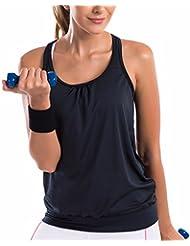 SYROKAN Femme Débardeur Running Sans Manche Sport T Shirt Tank Top