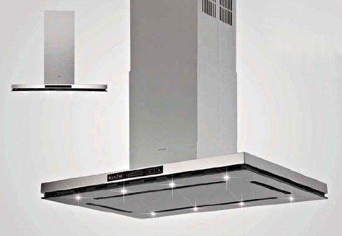 Silverline Virgo Isola Premium VII 994 S Inselhaube / 90 cm / Edelstahl/Glas Schwarz