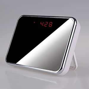 Best HD SPY Camera clock with Motion detection, Alarm, Design Mirror, Spy CAM , 1280x 960 pixel @ 30fps, 5 Mega pixel , Spy clock, Voice & Videos Recorder, Picture, Audio Sound , Room/Store Temperature, 140? Wide View Angle, MultiFunctional HIDDEN CAMERA Clock By ECSHOP