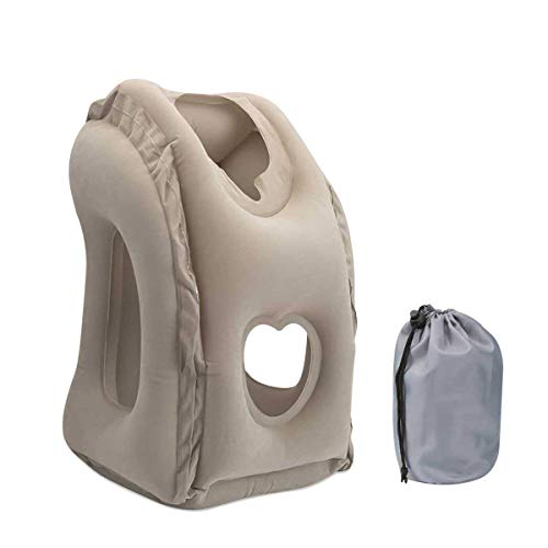 Inflatable Travel Pillow for Airplanes, SGODDE Comfortable Ergonomic and Portable Flight Pillow for Neck and Head Support, Patented Design for Airplanes,Cars,Buses,Trains,Office Napping, Camping
