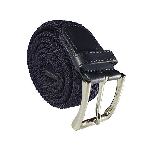 Cinturón trenzado elástico y extensible cinturones con hebilla para hombre y mujer. (Azul, 115 cm)