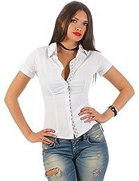 11246 Fashion4Young Damen Kurzarm Businessbluse Bluse Hemd Business Hemdbluse elastischem Stretch