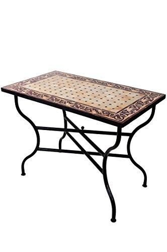 ORIGINAL Marokkanischer Mosaiktisch Gartentisch 100x60cm Groß eckig klappbar | Eckiger klappbarer Mosaik Esstisch Mediterran | als Klapptisch für Balkon oder Garten | Fes Natur Bordeaux 100x60cm