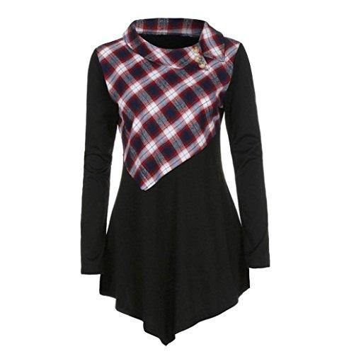 Bekleidung,DOLDOA Frauen Oberteil Winter Drehen sich um Kragen Langarm Plaid Spleißen Tops Bluse (EU: 42, Schwarz,Plaid Spleißen Oberteil) (Aqua-faltenrock)