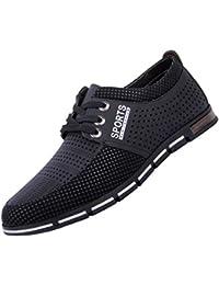 CANRO Zapatos de Cuero con Cordones para Hombre Negro Marrón Azul