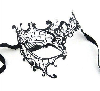 (SStaste Half Eye schwarz glänzend Metall Filigran Maske für venezianischen Masquerade Halloween Party Schwarz/Weiß Strass)