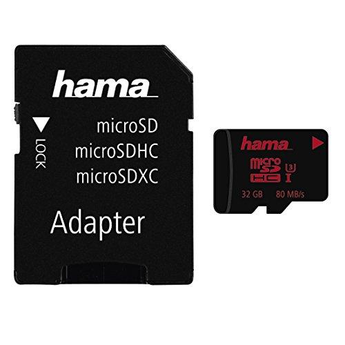 Hama 32GB micro SDHC Speicherkarte (Datenübertragungsrate bis zu 80 MB/Sek, UHS-I Speed Class 3 + universellen SD Adapter)