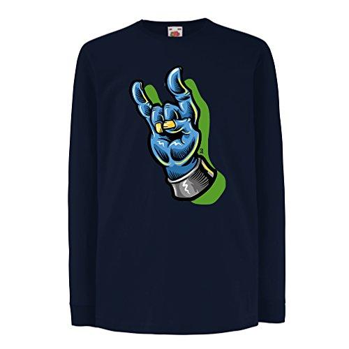Kinder-T-Shirt mit langen Ärmeln Zombie Hand Ein Rock and Roll Symbol, Zeichen der Hörner Schwermetall zeichen (14-15 years Blau Mehrfarben) (Band Shirt Altes Musik Logo)