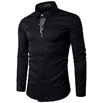UD FABRIC Men's Casual Cotton Embroidery Shirt (Black, 38)