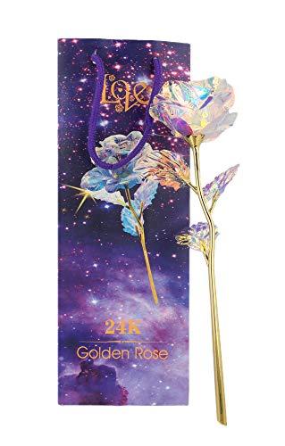 JaipurCrafts 24 K Golden Rose, 10 Inches with LED
