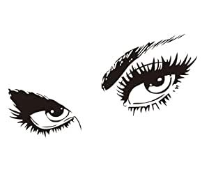 sexy eyes vinyl wall art decal sticker in black 80cm  h Closed Eyes Clip Art Large Winking Eye Clip Art