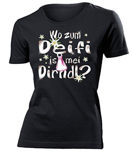 (Wo zum deifi is MEI Dirndl 1280 Oktoberfest Outfit Artikel Fasching Kostüm T Shirt verkleidung Wiesn Frauen Damen Mädchen Geschenk Schwarz XL)