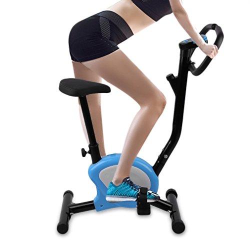 Krispich Heimtrainer Fahrrad, Aufrechtes Cardio Bike Fitness Fahrrad Fitnessbike mit LCD Display und Herzfrequenz, Höhenverstellbar Innen Radfahren Fahrrad Fitness Pedal Trainer, 110kg Max