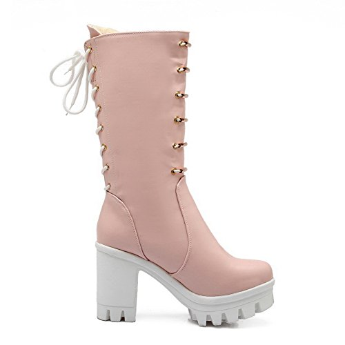 AllhqFashion Damen Rund Zehe Ziehen auf Mittler Absatz PU Leder Mittler Kalb Stiefel, Pink, 35