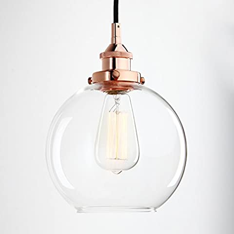 Pathson 7.9 inch Vintage Glass Modern Globe Industrial Edison Hanging Ceiling Pendant Light Fixture Loft Bar Kitchen Island Chandelier E27 (Copper)