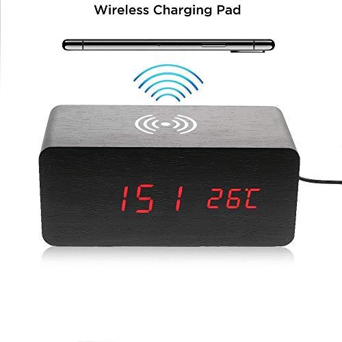 CoverKingz Holz Wecker mit Induktions Ladegerät, Wireless Charger für [iPhone XS Max/Xs/XR/X/8/8/Galaxy S10/S9/S8/S7/S6/Note 8/9/Nokia/Huawei P30] QI Ladestation, Schwarz (Ladestation Und Wecker)