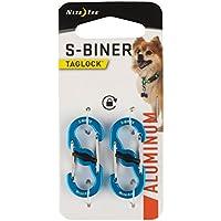 Nite Ize S-Biner TAGLOCK - Mosquetón doble para etiquetas de perro con cierre seguro, aluminio/azul, 2 unidades