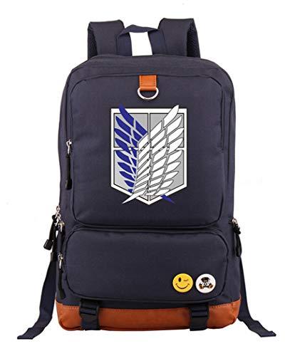 Cosstars Attack on Titan AOT Anime Laptop Rucksack Schultasche Büchertasche Schulrucksack Student Backpack Navy Blau (Mikasa Figur)
