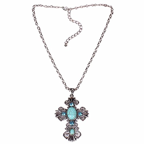 cross-faith-tibet-silver-turquoise-blue-pendant-chain-necklace